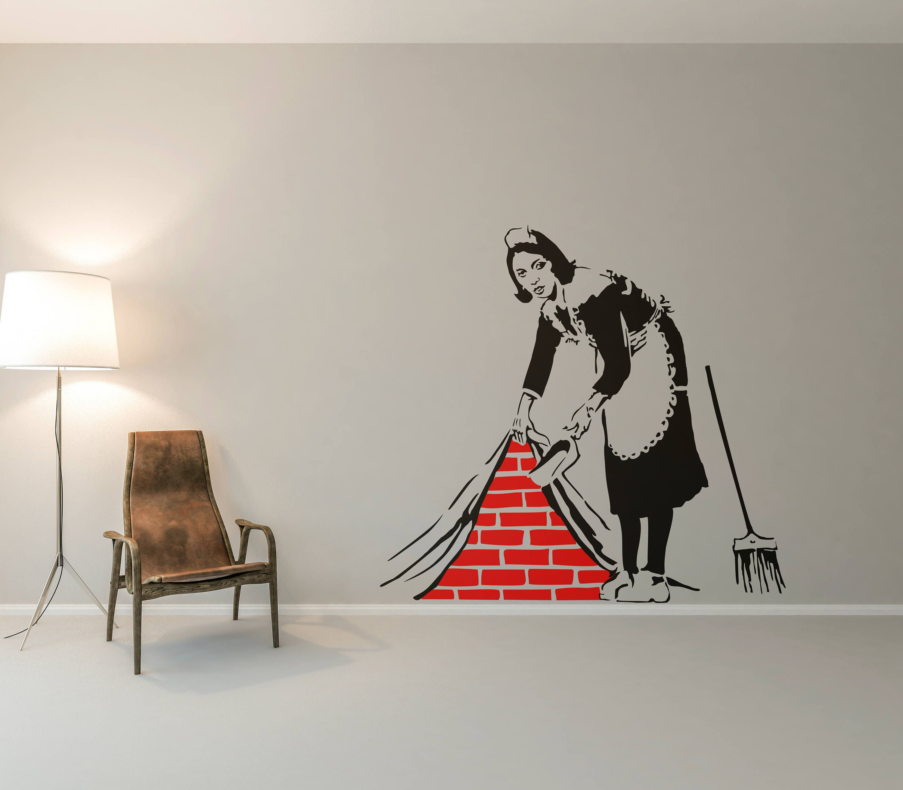Banksy Cleaning Lady Wall Decal Sticker Street art artist