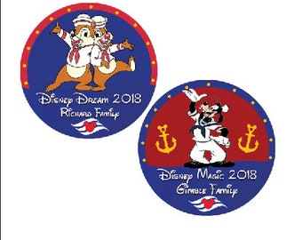 Disney Cruise Button - Chip and Dale Button - Goofy Button - Sailing Pin - Disney Vacation Pin - Theme Park Button - Fish Extender Gift