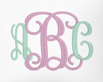 3 sizes vine Monogram font, Machine Embroidery Font Alphabet 1 inch, 2 inch and 3 inch font bx, dst, pes, hus, jef, vip, vip3 formats