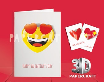 Valentine's Day Emoji Hearts Cards/ 3D DIY Valentine Card/ printable Valentines Emoji Heart Card/ 3D Red Heart/ How to make Valentine cards