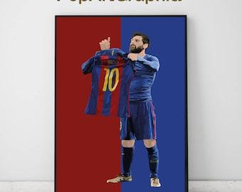NEW! Lionel messi poster ( el classico ) illustrated design celebrate