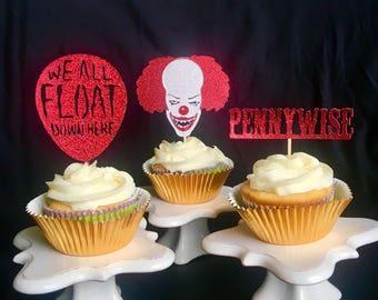 IT clown , Stephen King IT, scary clown cake, clown cupcake toppers clown cake topper , scary clown, Pennywise, pennywise clown , clown