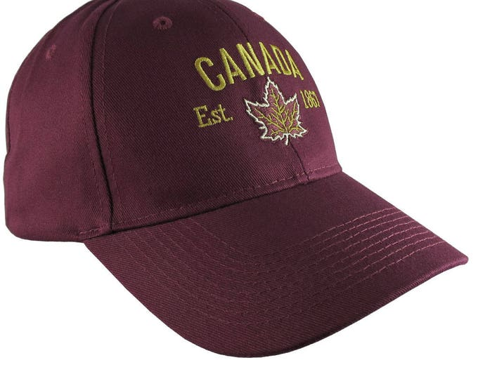Canada Established 1867 Retro Style Maple Leaf Golden Embroidery on an Adjustable Burgundy Structured Baseball Cap