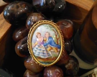 Old hand painted LIMOGES porcelain brooch with lovers