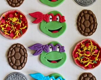 12 TMNT Ninja Turtles Fondant Cupcake Toppers