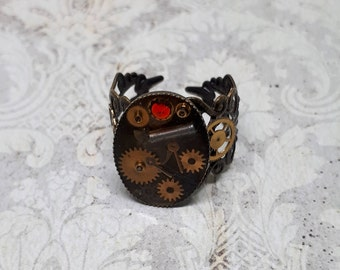Steampunk, ring, gears, gears, ring, resin