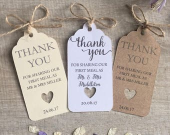 Personalised Wedding Favour First Meal Thank You Tag Pack of 10