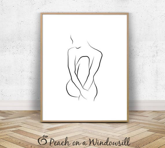 Line Drawing Etsy : Nude woman sketch female body art modern line drawing