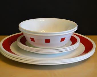Set of 5 Vintage Design Four Stoneware Salad Plates 752