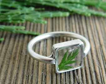 Silver plated leaf ring- square shape, size 6