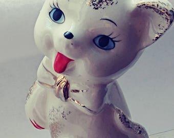 Vintage Japan Kitten Porcelain 1950's Red Tongue Gold Leaf