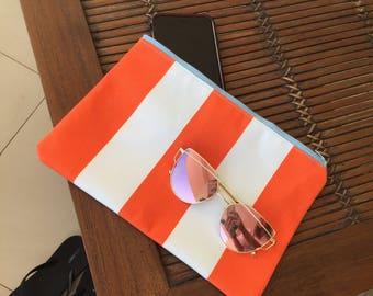 Orange Stripe Beach Clutch