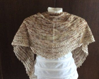 Merino crescent Sand lace shawl/wrap/scarf