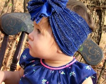 Blue Sparkles Ruffle Messy Bow Headband