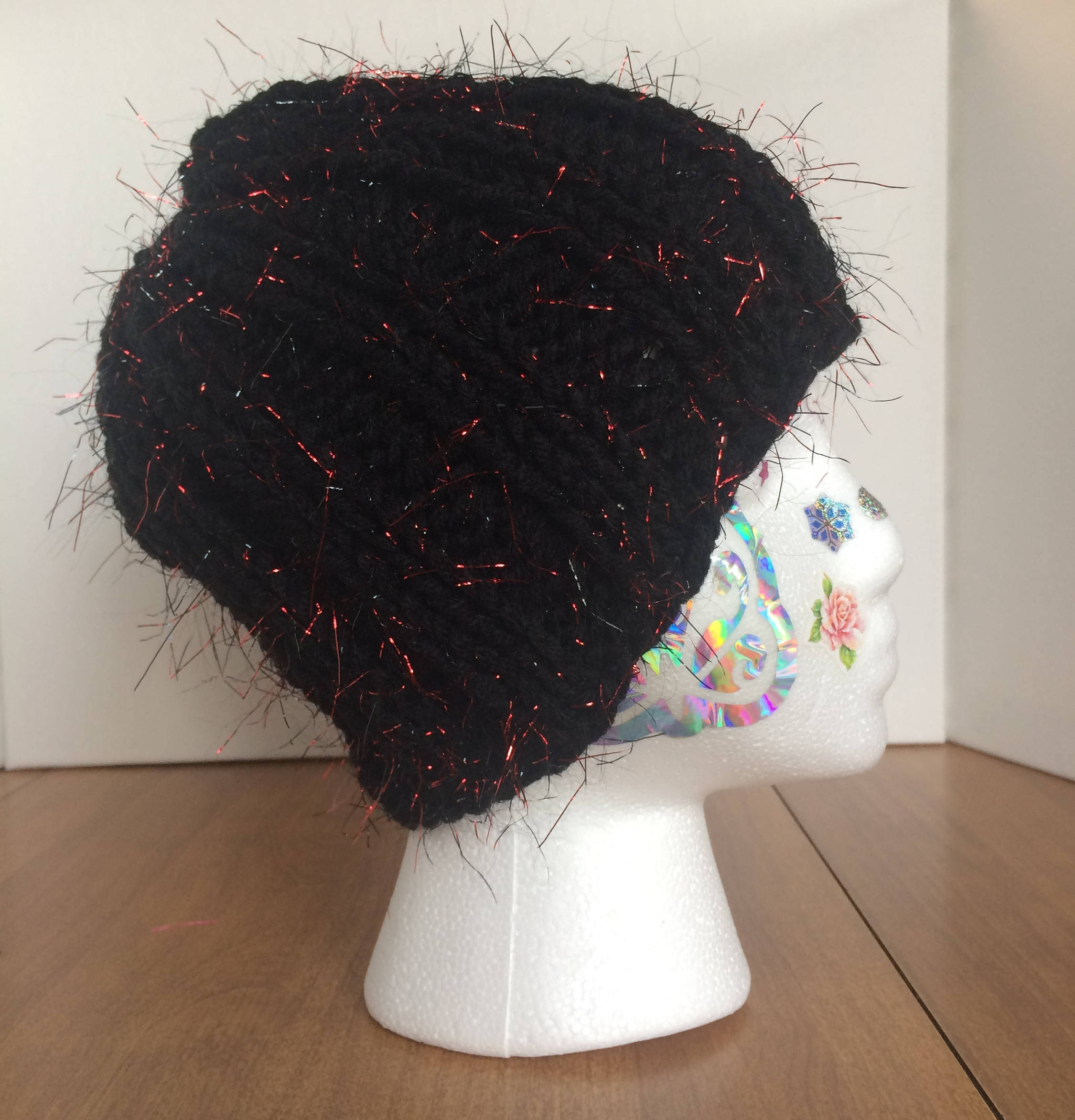 7b12ceae554 Fuzzy Bucket Hat in Black and Red Sparkles