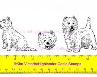 West Highland White Dog Westie set of 3 Unmounted Rubber Stamps
