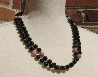 Onyx + Rhodochrosite Napping Necklace - Genuine Gemstones & Pure Silk Thread
