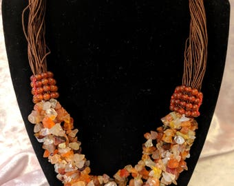 Vintage Gemstone Necklace - Amber Colored Mixed Polished Gemstone Chip Necklace