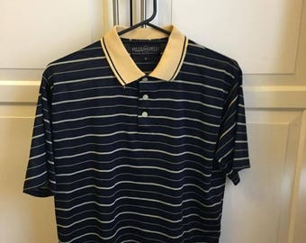 Vintage Striped Men's Polo Shirt Medium