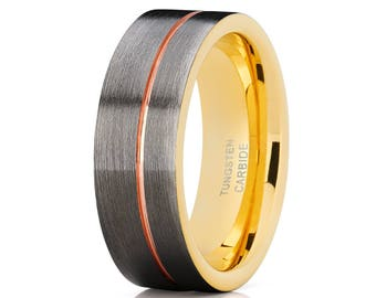 Rose Gold Tungsten Wedding Band Gunmetal Wedding Band Yellow Gold Tungsten Ring Men & Women Comfort Fit Ring Brush