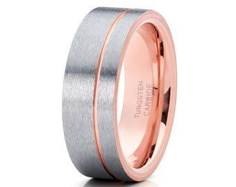 Gray Tungsten Wedding Band Rose Gold Tungsten Band Men & Women Gray Tungsten Band Anniversary Ring Comfort Fit