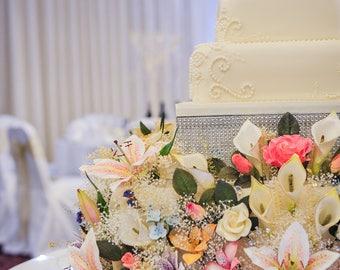 Personalised customisable wedding or celebration birthday cake decoration / topper sugarcraft handmade flowers