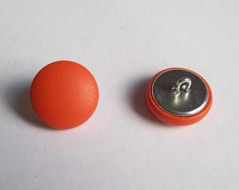 6 buttons covered with leather orange 20mm