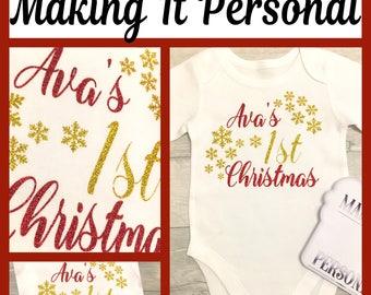 1st Christmas bodysuit cake smash boys or girls personalised with name