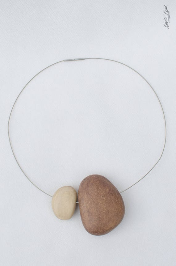 Ceramic Stones Made : Necklace of stones ceramic made stoneware burnished
