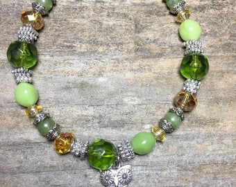 Green and amber beaded bracelet with silver bead and silver owl charm, charm bracelet, for her, christmas gift, under 10, owl charm bracelet