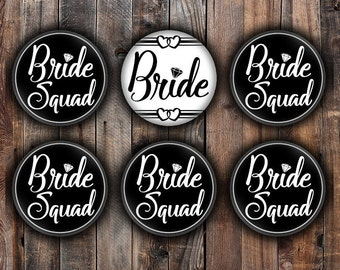 Black and White Bride and Bride Squad pins, 2.25 inch, for bachelorette, shower, wedding