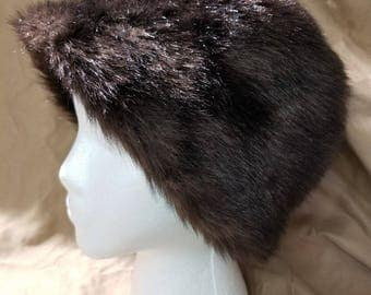 Vintage Faux Fur Dark Brown Dome Hat Made in England