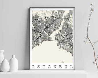 Map of ISTANBUL, TURKEY - Fits IKEA Frame, Map art, print, Poster