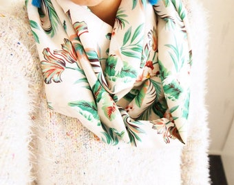 Collar double Snood mid-season motiffs Palm trees, tropical