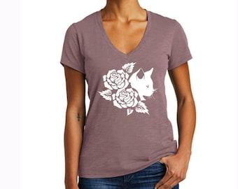 Cat & Flowers Shirt Womens Shirts Feminist Gift Shirt Tees Girls Female Tops Girl Power T Shirt V-neck Tee Fall Shirt Women's Fall Shirt