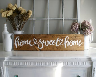 Home Sweet Home Rustic Wooden Sign Small  |  Hand Lettered  |  Home Decor  |  Gift Idea  |  Farmhouse Style