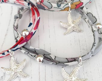 Liberty Betsy Ribbon Bracelet with Sterling Silver Starfish Charm