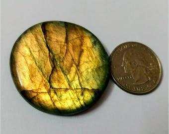 40.11 mm,Round Shape Labradorite Cabochon/Golden flaseh/Attractiv Labradorite/wire wrap stone/pendent size Labradorite/ Labradorite Cabochon