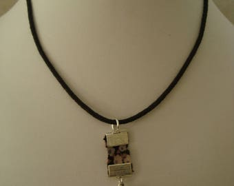 Grey liberty cube charm necklace