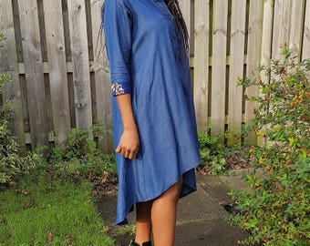 FOLKSHELF African Print Detailed Denim Swing Dress