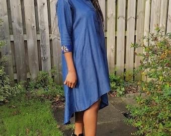 FOLKSHELF African Print Detailed Denim Swing Dress