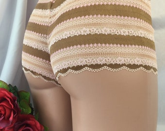 The Chloe. Stretch Latvian lace panty lingerie gifts for her pink copper striped panties girly high rise soft stretchy