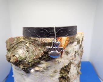 Flat cord with a football charm bracelet