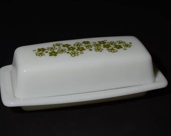 Vintage PYREX, Spring Blossom, Butter dish, Crazy Daisy pattern,  from the 1970's, Milk glass, PYREX, Spring Blossom, Green, 1970s