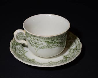 Antique Transferware Teacup and Saucer Denbigh Green Floral Ceramic Scalloped F Winkle Co Colonial Pottery Stoke England, before 1890, rare