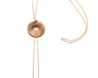 Hand-made long necklace with round massif bronze golden locket, crystal pearl and 16 carats gold-plated chain & components