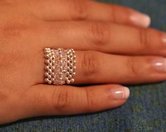 Beaded handmade ring with silver jewlery and swarovski crystals