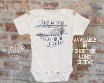 Airplane Onesie, This Is My Plane White Tee Biplane, Funny Baby Clothes, Cute Boys Outfit,  Boho Baby Bodysuit, Baby Jokes Onesie - 360T