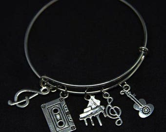 Music Themed Expandable Bangle Charm Bracelet/Music Lover/Music Band/Wire/STYLE #2