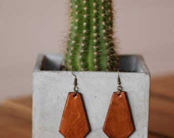 Brandy Copper Earrings | Leather Earrings | Birthday Gift | Anniversary | Gifts under 25 | Handmade | Gifts for Her